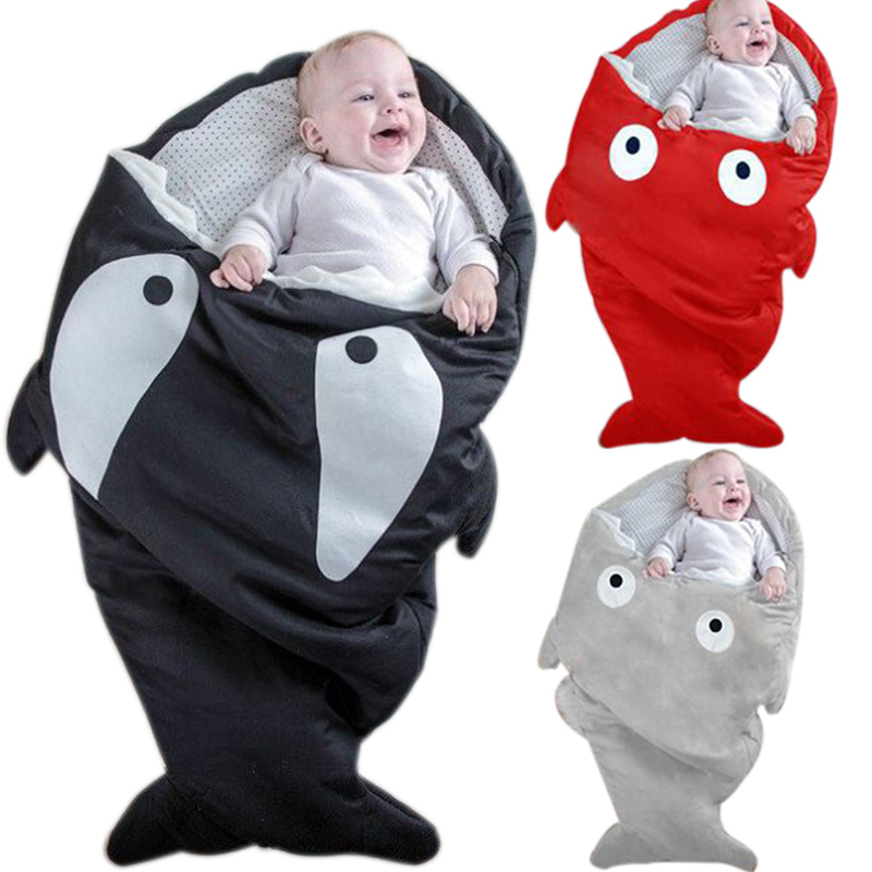 2017 New Cartoon Shark Sleeping Bags Newborn Infant Baby Carriage Winter Bedding Warm Pretty Cotton Soft