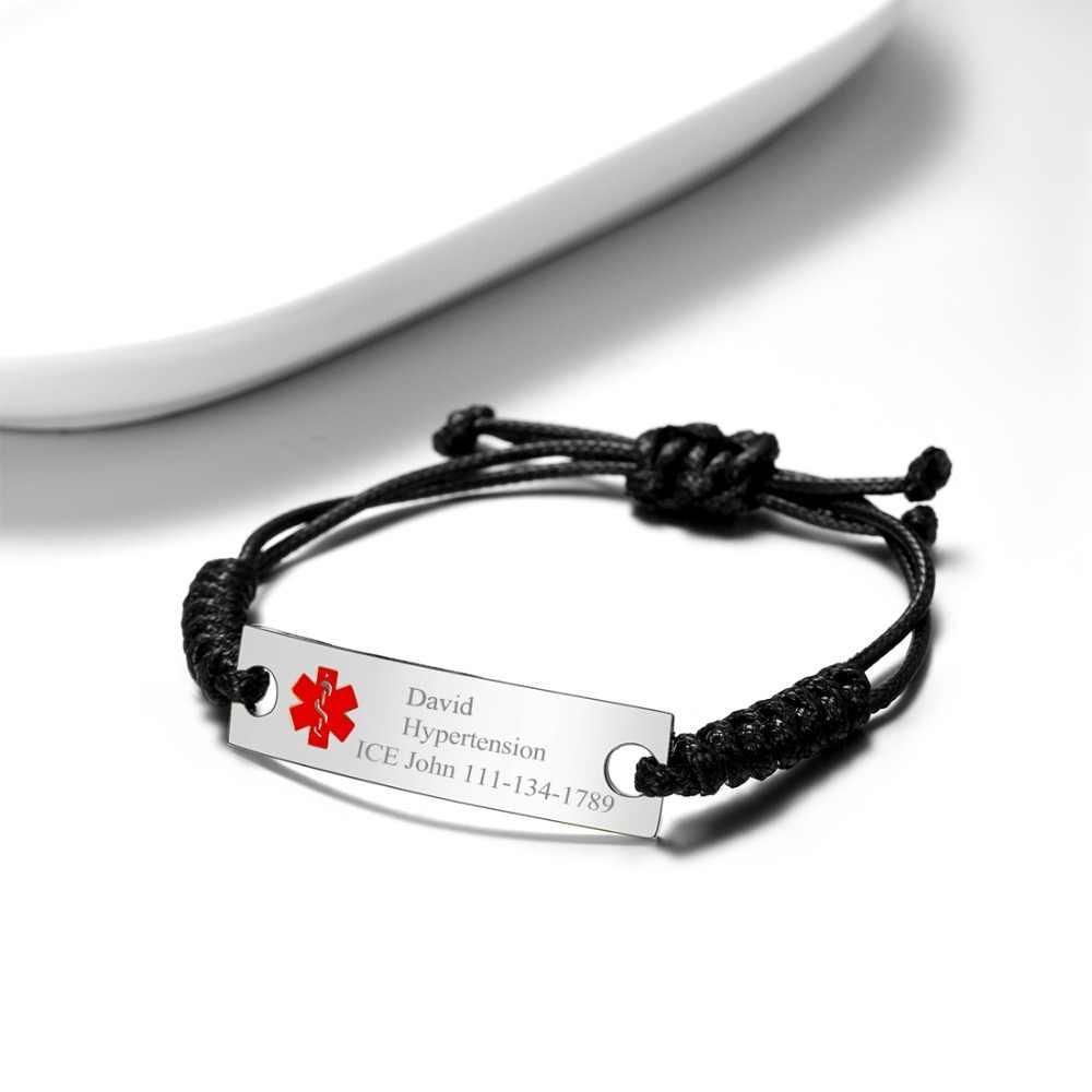 U7 wygrawerować alarm medyczny ID pasek wosk liny bransoletki ze stali nierdzewnej dla mężczyzn kobiety dostosowane awaryjne biżuteria regulowany H1074