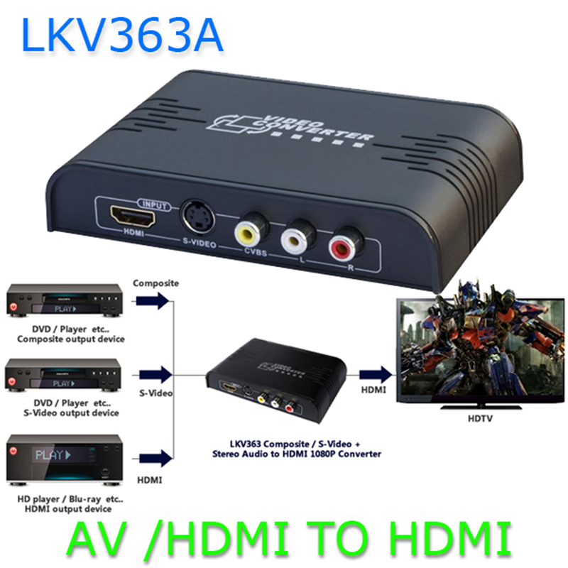 CVBS/S-Video to HDMI Converter Composite 3 RCA AV S-video CVBS to HDMI Converter S-video R/L Audio to HDMI 720P /1080P LKV363A 10pcs latest 1080p hdmi to av s video adapter s video cvbs video converter hdmi to av
