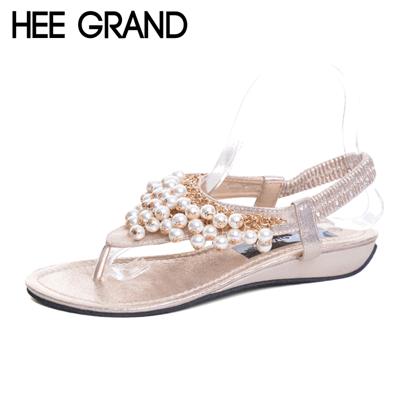 HEE GRAND Women's Sandals For 2017 New Pearl Beading Platform Wedges Sandals Hot Beach Shoes Woman Size 350-40 XWZ3720 hee grand casual wedges sandals 2017 summer beach women shoes platform buckle comfort creepers fashion shoes woman xwz3812