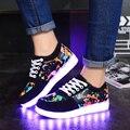 2016 Mulheres Coloridos Sapatos Casuais Carregamento Usb Levou Sapatos para Adultos homens Sola de Sapatos Brilhando com a Luz Para Cima Nova Simulação G25 30
