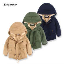Benemaker/Детские зимние уличные флисовые куртки для мальчиков; одежда с капюшоном; теплая верхняя одежда; ветровка для маленьких детей; тонкие пальто; YJ023