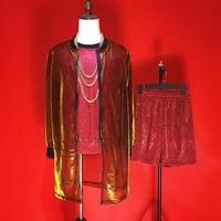 (Жилет + куртка + Штаны) флэш порошок 3 предмета комплекты модный мужской костюм прилив мужской рэп певец хип хоп Рок барабан сценические кост