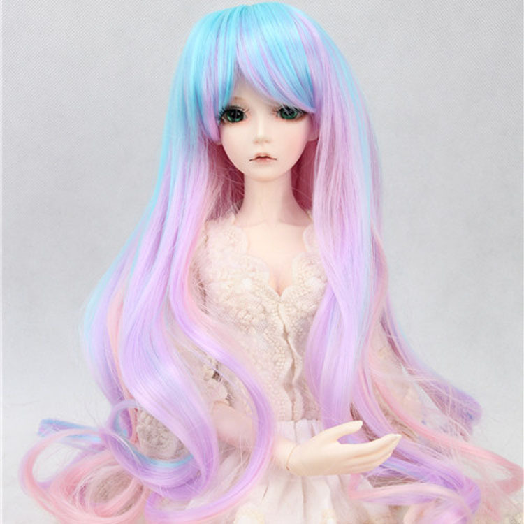 hair for dolls fits 1/3 1/4 1/6 BJD/SD Doll Wigs Long Pear volume hair Purplish color blending bjd sd 1 3 1 4 1 6 doll wigs applicable silk long hair 6 7 inch excluding dolls