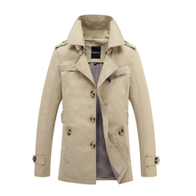 New  2017 Autumn Style Mens Trench Coat Fashion Casual Business Men's Trench coat Single-breasted Slim long pea Trench Coat Men