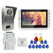 """FREIES VERSCHIFFEN 7 """"Touch Schlüssel Weiß Monitor Video-türsprechanlage Sprechanlage + Metall RFID Code Tastatur Entsperren Outdoor-kamera + Power"""