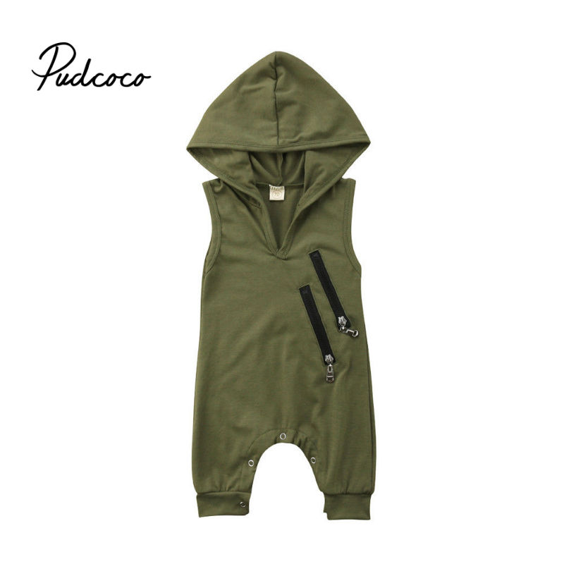 Brand 2019 Sleeveless Newborn Baby Boys Girls Casual Hooded   Romper   Jumpsuit Outfit Clothes Zipper Type Army Green Kid Clothes