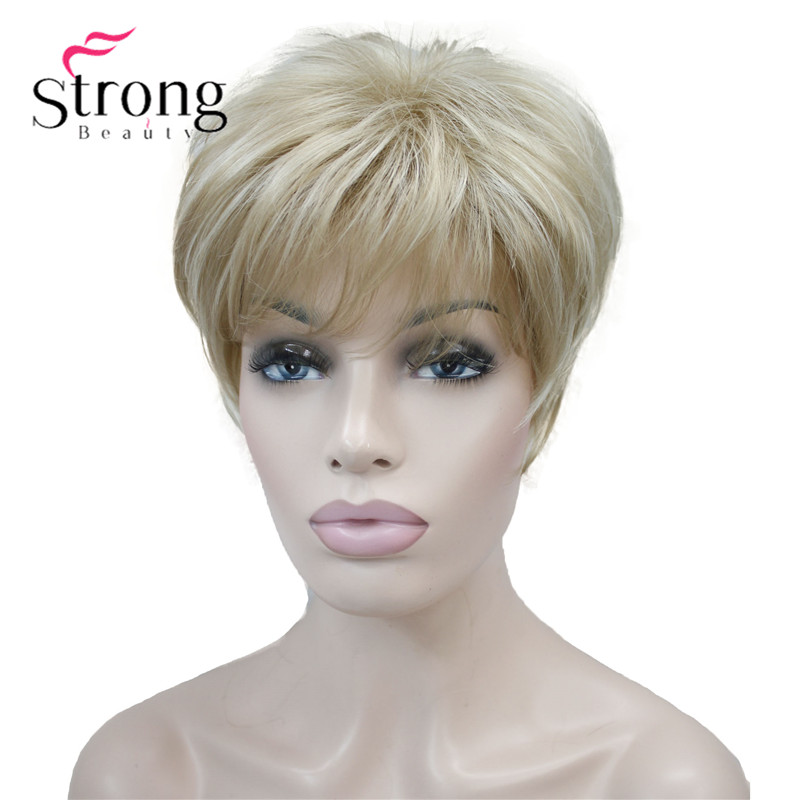 StrongBeauty Short Layered Blonde Shag Classic Cap Full Synthetic Wig COLOUR CHOICES