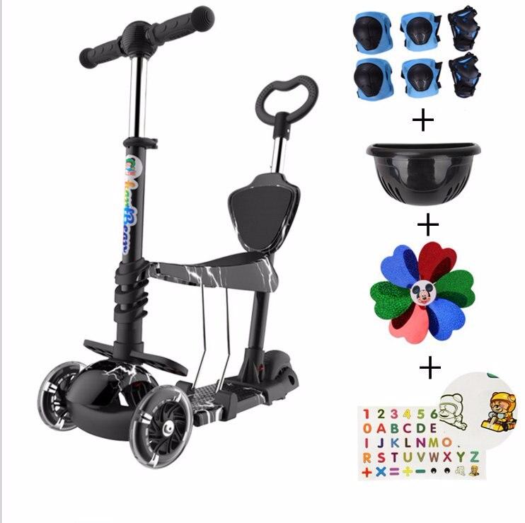 Enfants coup de pied Scooter planche à roulettes clignotant roue en polyuréthane détachable réglable chariot vélo pour l'extérieur