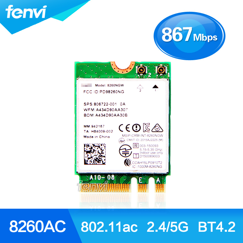 Nov dvojni pas za Intel Wireless-AC 8260 8260NGW NGFF 2x2 WIFI 802.11ac 867Mbps Wi-Fi + Bluetooth 4.2 Wlan Card Windows 7 8 10