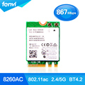 New Dual Band For Intel Wireless-AC 8260 8260NGW NGFF 2x2 WIFI 802.11ac 867Mbps Wi-Fi + Bluetooth 4.2 Wlan Card Windows 7 8 10