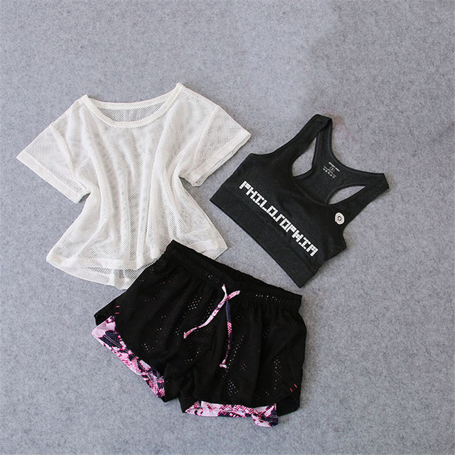 3 PCS Set Women's Yoga Suit Fitness Clothing Sportswear For Female Workout Sports Clothes Athletic Running Bra Top Yoga Suit Set 1