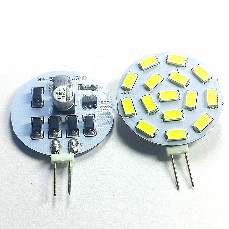 5PCS/lot <font><b>LED</b></font> <font><b>Light</b></font> <font><b>Bulb</b></font> <font><b>G4</b></font> 15PCS 5730/5630SMD 12V AC/DC <font><b>24V</b></font> DC <font><b>LED</b></font> PCB Warm White 3000K Decor Home lighting <font><b>Bulb</b></font> image