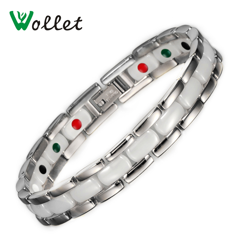 Wollet Gifts for Valentine's Day Healing Energy Nano Magnetic Germanium White Ceramic Bracelets for Women