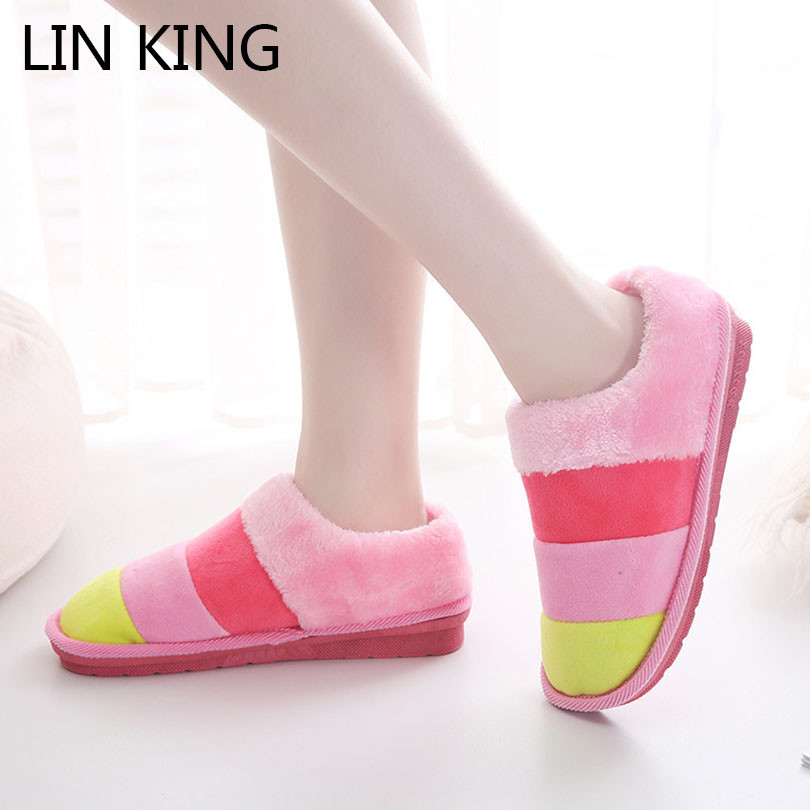 LIN KING Cute Candy Color Unisex Indoor Slippers Women Men Home Floor Shoes Warm Plush Bedroom Shoes Soft Cotton Padded Shoes unisex autumn winter warm soft home non silp pure color slippers indoor shoes cotton padded shoes soft women indoor slippers