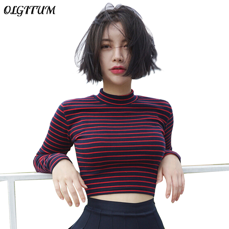OLGITUM New Women Sweater Sexy Crop Tops Fashion Shirt Turtleneck Short Section Red And Black Classic Stripe Slim Sweater