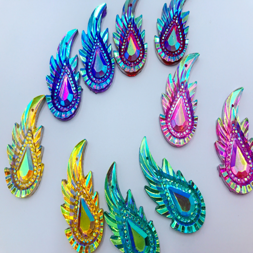 30pcs 36 17mm Leaves shape Mixed colour Sew on rhinestones flatback resin  crystals accessory gemstone strass loose beads -in Rhinestones from Home    Garden ... 4f6d04c89b1f