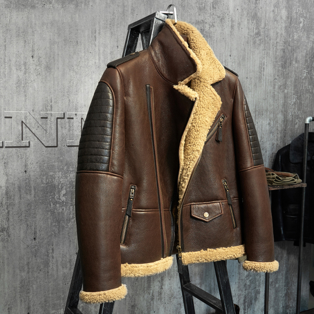 937cf1c0e2c Dark Brown B3 Jacket Men s Shearling Leather Jacket Original Flying Jacket  Men s Fur Coat Aviation Leathercraft