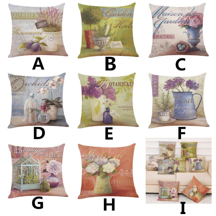 2018 Pillow Case 45*45 Home Decor Cushion Cover Flowers Throw Pillowcase Pillow Covers NEW Free Drop Shipping D JA18