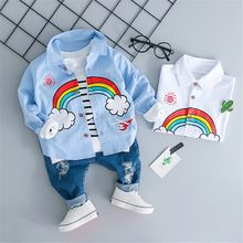 MUQGEW Toddler Kids Baby Boys Girls Rainbow T-shirt Tops Ripped Jeans Pants Outfits Set Casual Comfortable Girls Clothes(China)