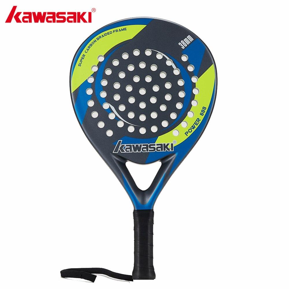 Kawasaki PUISSANCE 600 Raquette de Padel 38mm Tennis Padell Raquette pour Joueur Junior Cadre En Fiber De Carbone Souple EVA Visage avec pagaie Sac