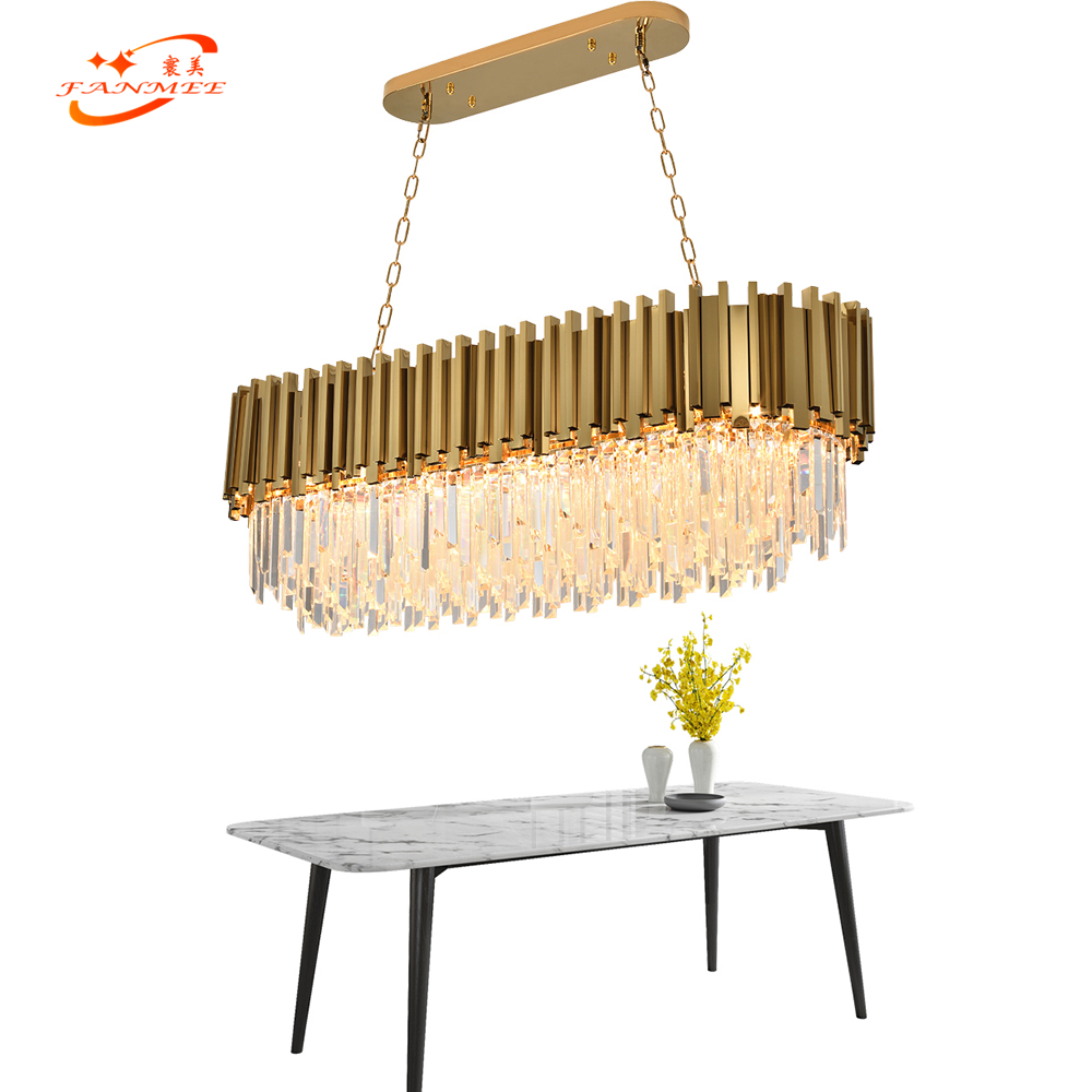 Modern K9 Crystal Chandelier Lighting Oval LED Cristal Chandeliers Hanging Light for Living Dining Room Bedroom