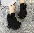 2015 осенью и зимой лук замшевые сапоги увеличился женские сапоги склон с сапоги на высоком каблуке моды в новых сапогах