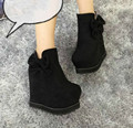 2015 autumn and winter bow suede boots increased female slope with high-heeled boots fashion within the new boots