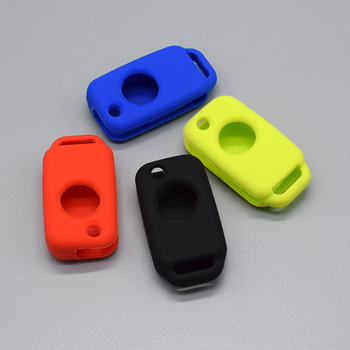 Silicone car key fob case cover skin shell holder for Mercedes Benz W168 W124 W202 one 1 Button Flip Folding Key protect Shell image