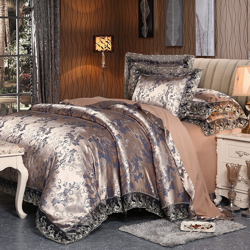 4 Pieces Silver Brown Luxury Satin Cotton Lace Bedding sets Double Queen King size bedding duvet cover bed sheet set Pillowcases4 Pieces Silver Brown Luxury Satin Cotton Lace Bedding sets Double Queen King size bedding duvet cover bed sheet set Pillowcases