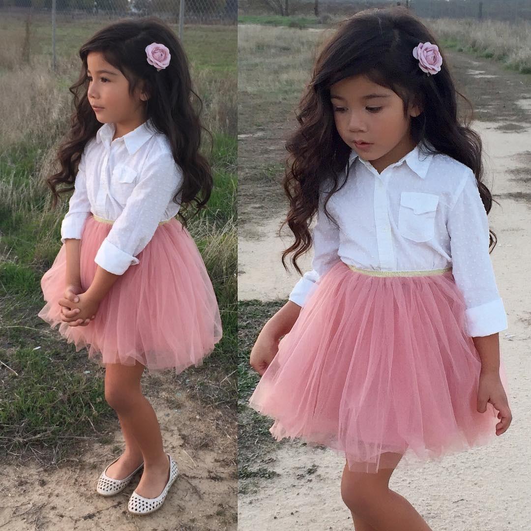 Adorable Toddler Kids Baby Girl Princess Clothes Shirt Blouse Tops + Lace Ruffle Tutu Skirt 2Pcs Outfits