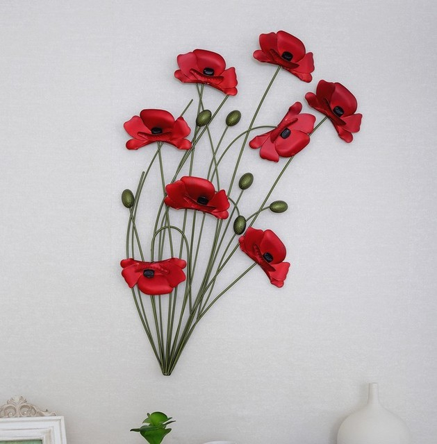 Modern Home Decoration Metal Wall Art Hand Made Red Poppy