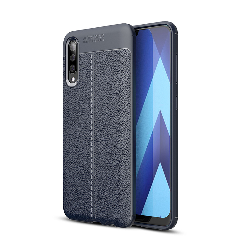 litchi silicone case for <font><b>Samsung</b></font> <font><b>galaxy</b></font> <font><b>A50</b></font> cases shockproof silicon copy leather tpu cover funda hoesje coque etui kryt tok image