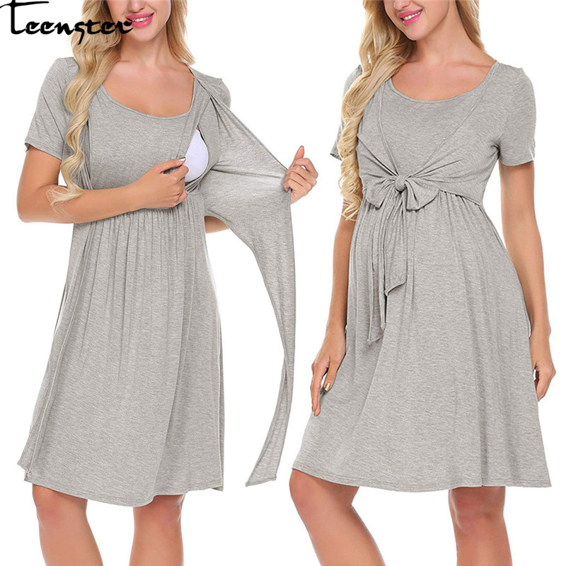 Teenster Maternity Dresses For Photo Shoot Summer Short Sleeve Nursing Dress Sexy Clothes For Women Pregnant Breastfeeding