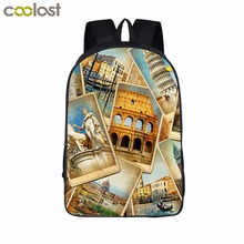 Famous Building Black Backpack Kids Men School Bags for Teenagers Boys Girls Book Backpack High Quality
