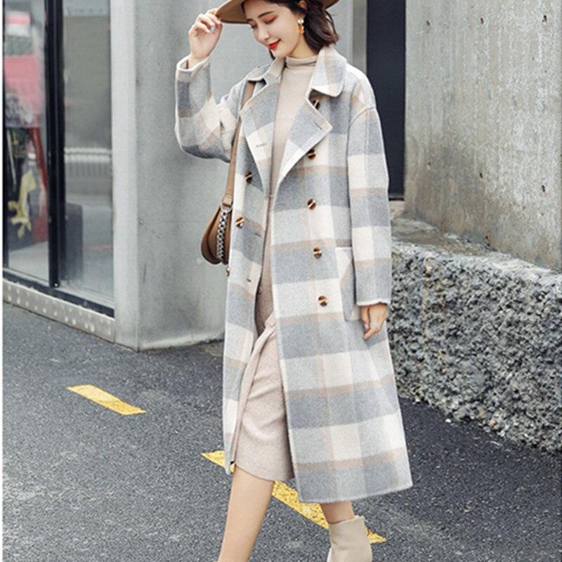 Taille Élégant De Costume 2019 Double Manteau Femmes Outwear Coupe Longue Col Nouveau Automne Gray Laine Plaid D'hiver breasted Et Veste green Plaid vent Grande UtUrvdqwx