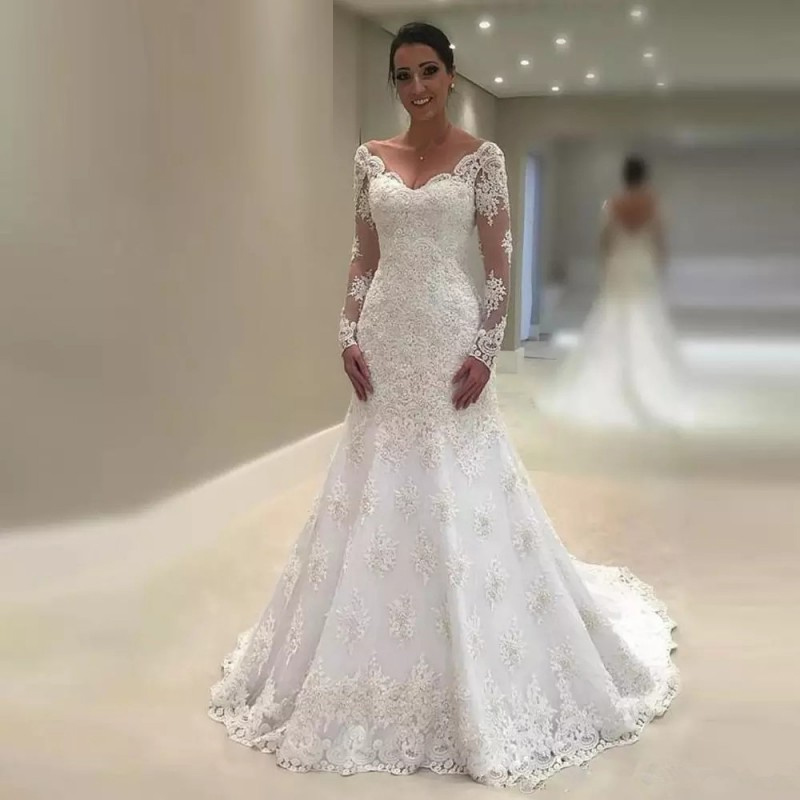 Gelinlik Mermaid Wedding Dress Long Sleeves For Bridal 2019 Vestido De Noiva Summer Lace Beaded Ivory Bridal Gowns Trouwjurk