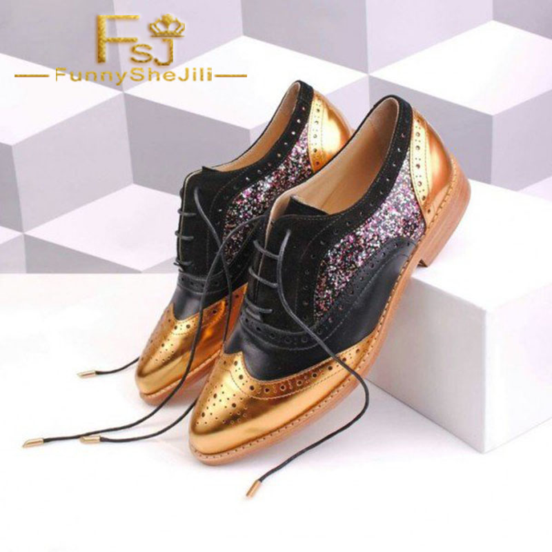 Noir Élégant Femmes Appartements Oxford Généreux Bande Wingtip Fsj Glitter Incomparable Étroite Et Deux Fsj01 De Noble Tons Or Lacent Sexy zwqUYzg4r