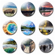 Yellowstone National Park Refrigerator Magnets 30MM Magnet Fridge Glass Dome Landscape Ornaments Magnetic Stickers for