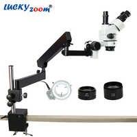 Luckyzoom Simul-Brenn 3.5X-90X Trinocular Stereo Mikroskop Gelenk Arm Clamp Mikroskop 0.5X 2.0X Ziel Objektiv 144 Licht