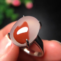 Adjustable Ring Natural South Ice Red Agate Ring Crystal Women Improve Immunity Gift 925 Sterling Silver 16x11.8mm Beads AAAAA