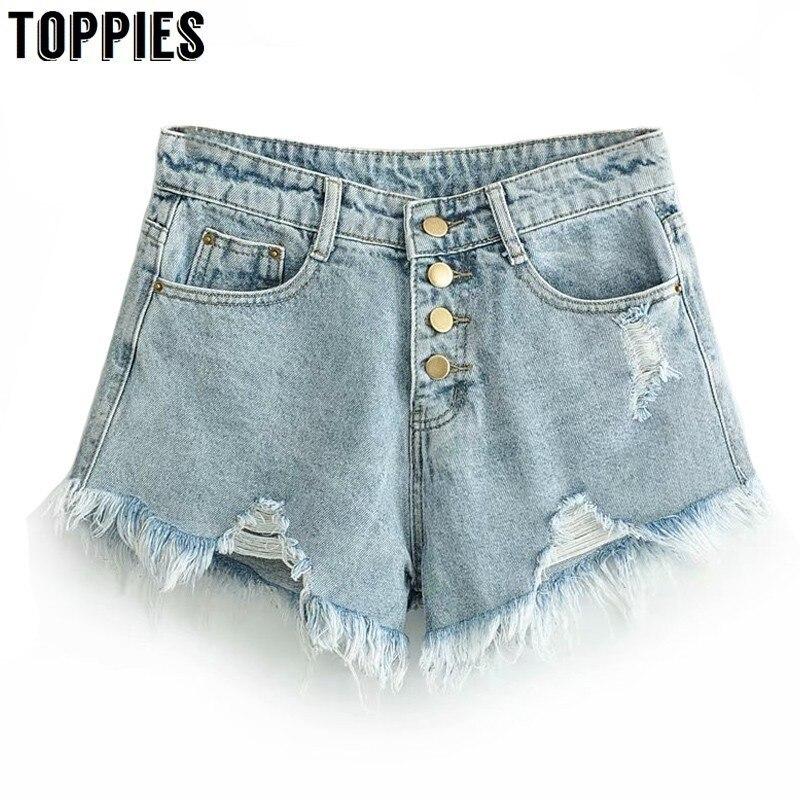 Summer Hot Denim   Shorts   Button High Waist   Shorts   Women Sexy Ripped Tassel Jeans Biker High Street Fashion