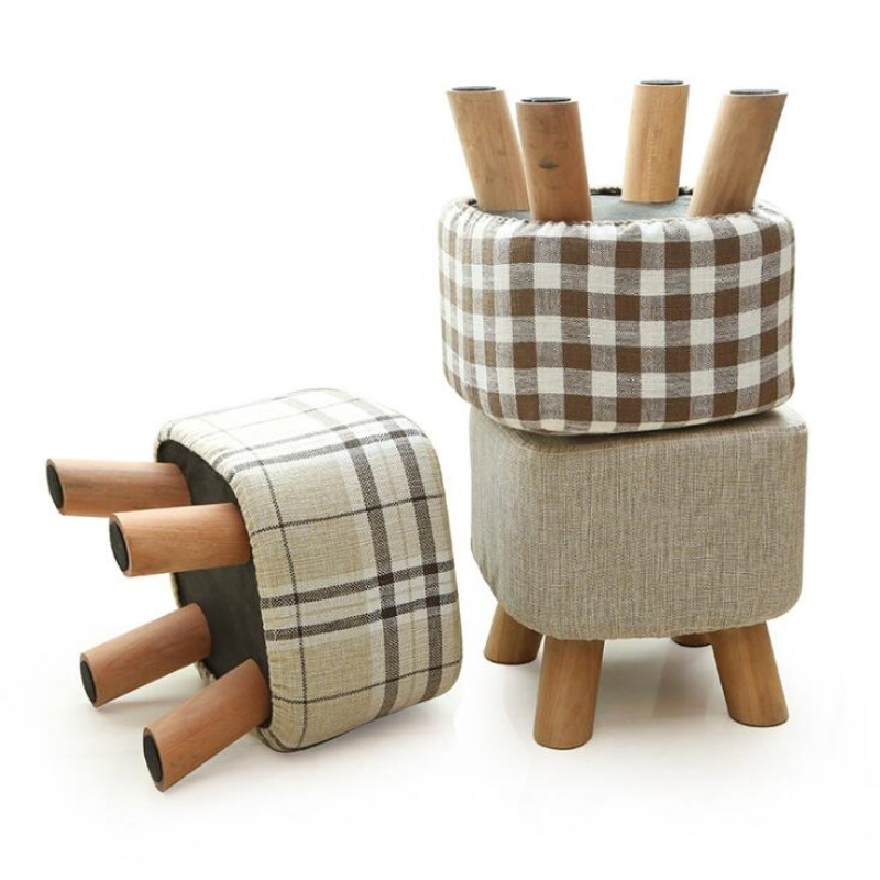 Newest Fashion chair Upholstered Footstool + Wooden Leg Pattern: Round/ square Fabric Pouffe Stool:5 Colors(4 Legs) 17 styles shoe stool solid wood fabric creative children small chair sofa round stool small wooden bench 30 30 27cm 32 32 27cm