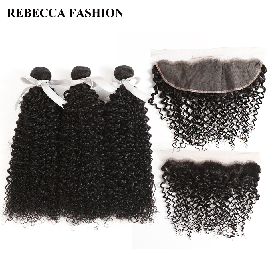 Rebecca Lace Frontal Closure With Bundles Non Remy Brazilian Curly Weave Human Hair 3 Bundles With 13x4 Ear To Ear Lace Frontal