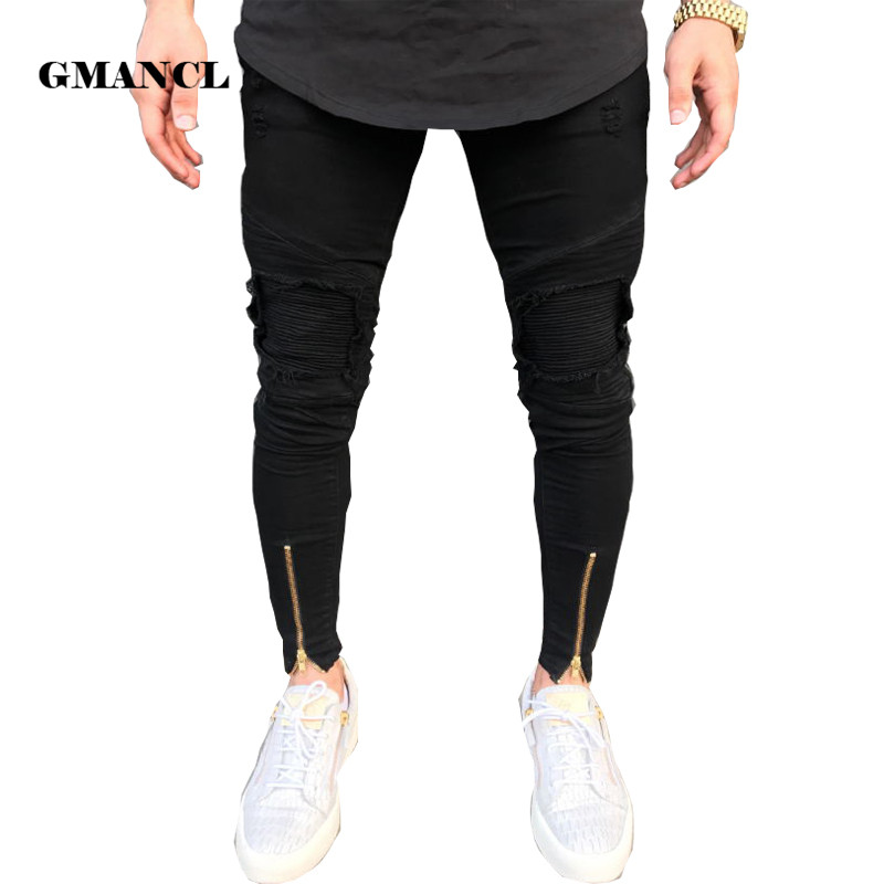 2018 New Biker Jeans Mens Joggers Pants Stretch Ripped Black Denim Destroyed Bottom Zipper Jeans Homme Streetwear Hip Hop