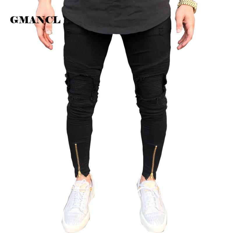 2018 New Biker Jeans Mens Joggers Pants Stretch Ripped Black Denim Destroyed Bottom Zipper Jeans Homme Streetwear Hip Hop