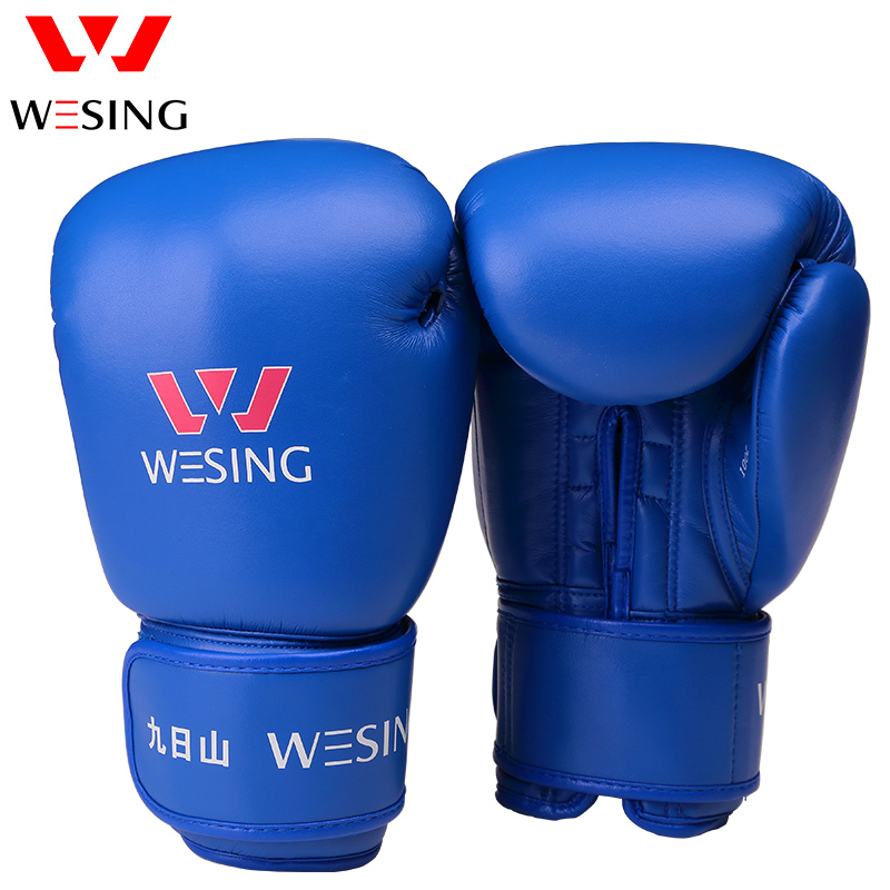WESING Professional Kick Boxing Gloves Adults Large Size 16 Oz Leather Cheap Black Boxing Gloves Men Women Sanda Gloves wesing aiba approved boxing gloves 12oz competition mma training muay thai kickboxing sanda boxer gloves red blue