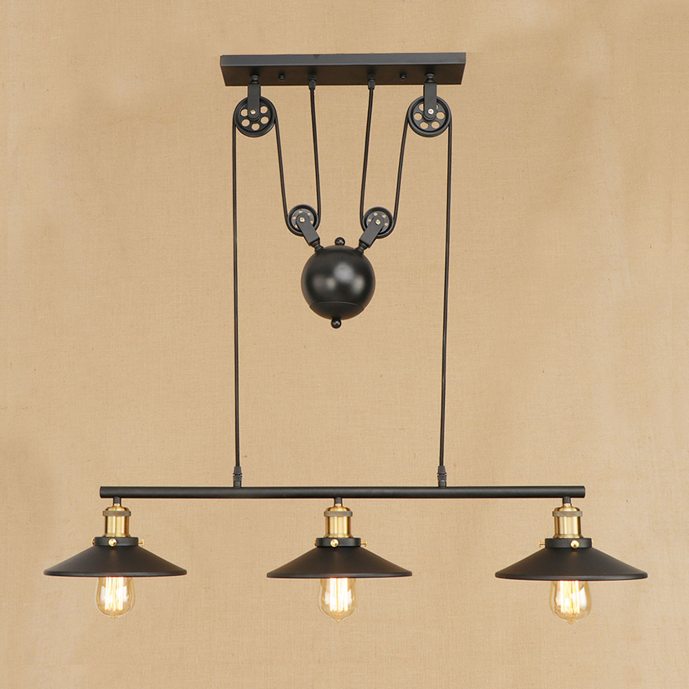 3 head retro Hanging black Pendant Lamps E27 LED Light adjustable vintage pulley for living Room bar restaurant Kitchen Lighting3 head retro Hanging black Pendant Lamps E27 LED Light adjustable vintage pulley for living Room bar restaurant Kitchen Lighting
