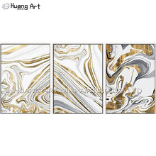 Hand-painted High Quality Modern Gold White and Grey Abstract Oil Painting for Home Decoration 3Pcs Group of Paintings on Canvas