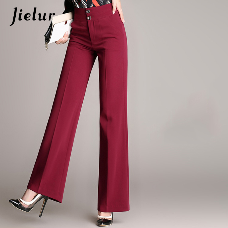 Jielur Fall New Casual   Wide     Leg     Pants   Female Large Size S-4XL Straight Black Trousers for Women Loose Slim High Waist Pantalon